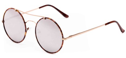Angle of Tenor #9595 in Gold/Tortoise Frame with Mirrored Lenses, Women's and Men's Round Sunglasses