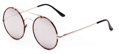 Angle of Tenor #9595 in Silver/Tortoise Frame with Mirrored Lenses, Women's and Men's Round Sunglasses