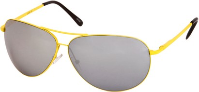 Angle of SW Mirrored Square Aviator Style #1999 in Yellow Frame, Women's and Men's