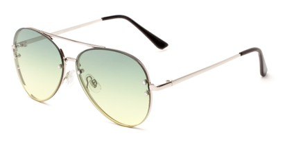 Angle of Ashbury #9606 in Silver Frame with Green Faded Lenses, Women's and Men's Aviator Sunglasses