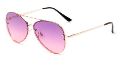 Angle of Ashbury #9606 in Gold Frame with Pink Faded Lenses, Women's and Men's Aviator Sunglasses