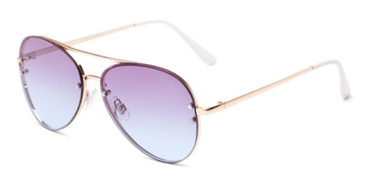 Angle of Ashbury #9606 in Gold Frame with Purple/Blue Faded Lenses, Women's and Men's Aviator Sunglasses
