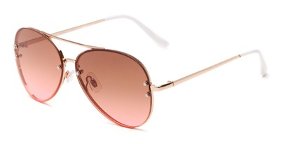 Angle of Ashbury #9606 in Gold Frame with Red Faded Lenses, Women's and Men's Aviator Sunglasses