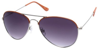 Angle of SW Aviator Style #1414 in Orange Frame, Women's and Men's