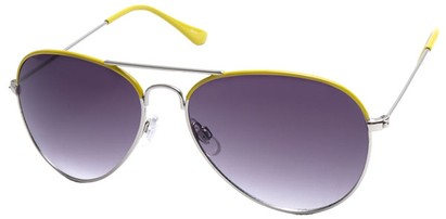Angle of SW Aviator Style #1414 in Yellow Frame, Women's and Men's