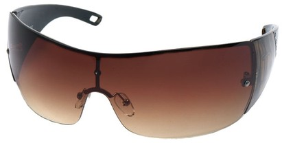 Angle of SW Shield Style #1189 in Black and Bronze Frame, Women's and Men's