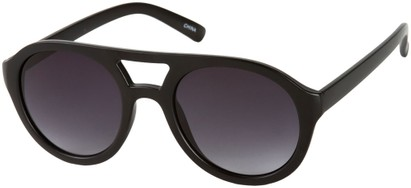 Angle of SW Celebrity Aviator Style #160 in Matte Black Frame with Grey Lenses, Women's and Men's
