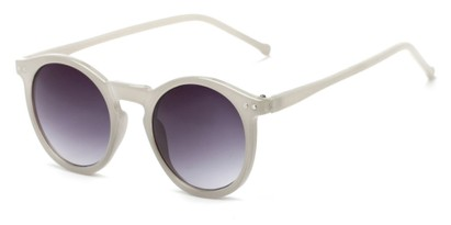 Angle of Oslo #9729 in Grey Frame with Smoke Lenses, Women's Round Sunglasses