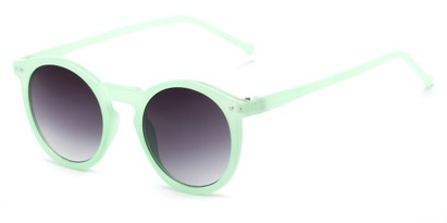 Angle of Oslo #9729 in Mint Frame with Smoke Lenses, Women's Round Sunglasses