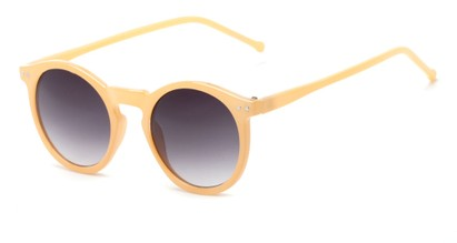 Angle of Oslo #9729 in Orange Frame with Smoke Lenses, Women's Round Sunglasses