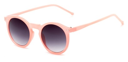 Angle of Oslo #9729 in Pink Frame with Smoke Lenses, Women's Round Sunglasses