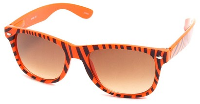 Angle of SW Zebra Style #9750 in Orange Frame with Black Stripes, Women's and Men's