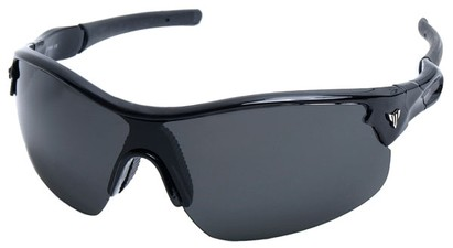 Angle of SW Sport Style #1420 in Glossy Black Frame with Grey Lenses, Women's and Men's