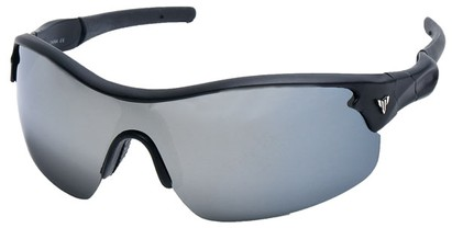 Angle of SW Sport Style #1420 in Matte Black Frame with Mirrored Lenses, Women's and Men's