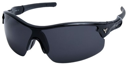 Angle of SW Sport Style #1420 in Glossy Black Frame with Smoke Lenses, Women's and Men's