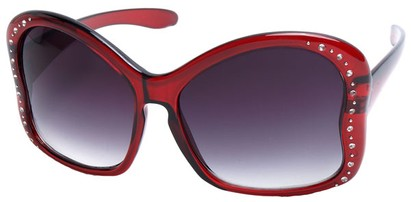 Angle of SW Butterfly Style #1489 in Clear Red Frame, Women's and Men's