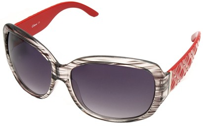 Angle of SW Oversized Style #9818 in Grey and Red Frame, Women's and Men's