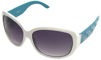 Angle of SW Oversized Style #9818 in White and Teal Frame, Women's and Men's
