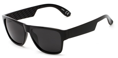 Angle of Zurich #9849 in Glossy Black Frame with Grey Lenses, Women's and Men's Retro Square Sunglasses
