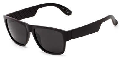 Angle of Zurich #9849 in Matte Black Frame with Grey Lenses, Women's and Men's Retro Square Sunglasses