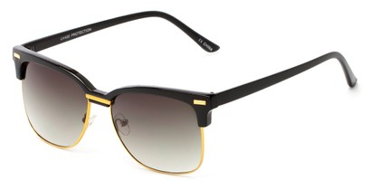 Angle of Windsor #9865 in Black and Gold Frame with Gradient Smoke Lenses, Women's and Men's Browline Sunglasses