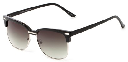 Angle of Windsor #9865 in Black and Silver Frame with Gradient Smoke Lenses, Women's and Men's Browline Sunglasses