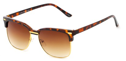 Angle of Windsor #9865 in Tortoise and Gold Frame with Gradient Amber Lenses, Women's and Men's Browline Sunglasses