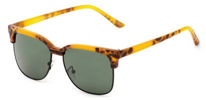 Angle of Windsor #9865 in Matte Tortoise and Black Frame with Green Lenses, Women's and Men's Browline Sunglasses