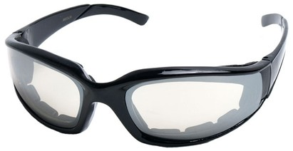 Angle of SW Padded Style #9889 in Black Frame with Mirrored Lenses, Women's and Men's