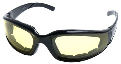 Angle of SW Padded Style #9889 in Black Frame with Yellow Lenses, Women's and Men's