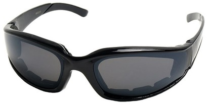 Angle of SW Padded Style #9889 in Glossy Black Frame with Smoke Lenses, Women's and Men's