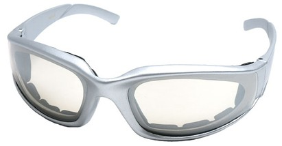 Angle of SW Padded Style #9889 in Silver Frame with Clear Lenses, Women's and Men's