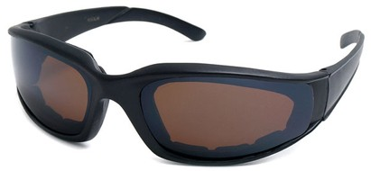 Angle of SW Padded Style #9889 in Matte Black with Amber Lenses, Women's and Men's