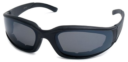 Angle of SW Padded Style #9889 in Matte Black with Smoke Lenses, Women's and Men's