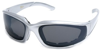 Angle of SW Padded Style #9889 in Silver Frame with Smoke Lenses, Women's and Men's