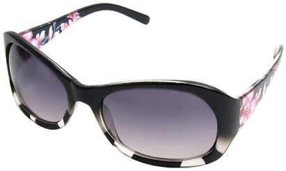 Angle of SW Floral Style #902 in Black and Clear Frame, Women's and Men's