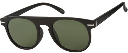 Angle of Rhine #1910 in Matte Black Frame with Green Lenses, Women's and Men's Round Sunglasses