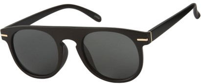 Angle of Rhine #1910 in Matte Black Frame with Smoke Lenses, Women's and Men's Round Sunglasses