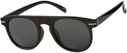 Angle of Rhine #1910 in Glossy Black Frame with Smoke Lenses, Women's and Men's Round Sunglasses