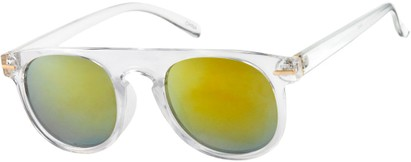 Angle of Rhine #1910 in Clear Frame with Mirrored Yellow Lenses, Women's and Men's Round Sunglasses