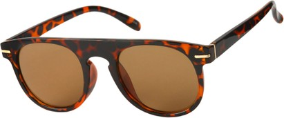 Angle of Rhine #1910 in Tortoise Frame with Amber Lenses, Women's and Men's Round Sunglasses
