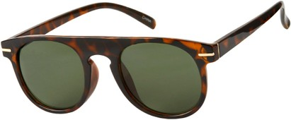 Angle of Rhine #1910 in Tortoise Frame with Green Lenses, Women's and Men's Round Sunglasses