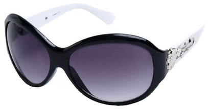 Angle of SW Flower Style #9944 in Black and White Frame, Women's and Men's