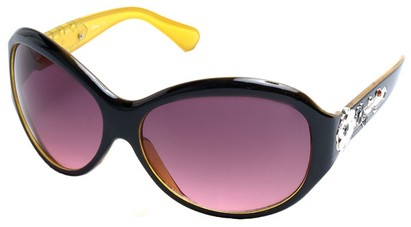 Angle of SW Flower Style #9944 in Black and Yellow Frame, Women's and Men's