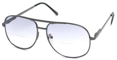Angle of Pilot #9951 in Grey Frame with Light Smoke, Women's and Men's Aviator Reading Sunglasses