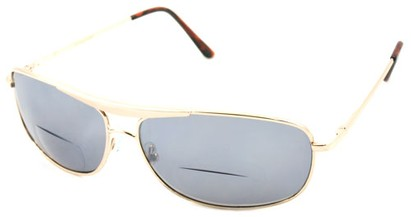 Angle of Beckett #9953 in Gold, Women's and Men's Aviator Reading Sunglasses
