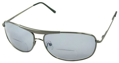 Angle of Beckett #9953 in Glossy Gray, Women's and Men's Aviator Reading Sunglasses