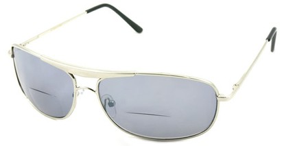 Angle of Beckett #9953 in Silver, Women's and Men's Aviator Reading Sunglasses
