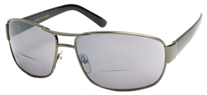 Angle of Jim #9954 in Grey Frame, Women's and Men's Aviator Reading Sunglasses