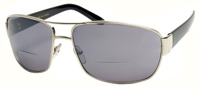 Angle of Jim #9954 in Silver Frame, Women's and Men's Aviator Reading Sunglasses
